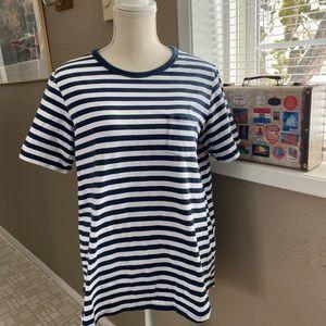 Diane Gilman navy/white striped t-shirt, Sz. L